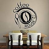 wZUN Cafetería Etiqueta de la Pared Etiqueta de Vinilo cafetería Logo Etiqueta de la Pared cafetería Restaurante Cocina decoración 63X57 cm