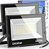 Ustellar 2 Pack 80W LED Flood Light IP66...