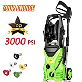 Homdox Electric High Pressure Washer 3000PSI 1.8GPM Power Pressure Washer Machine 1800W with Power Hose Gun Turbo Wand, 5 Interchangeable Nozzles and Rolling Wheels (Green)
