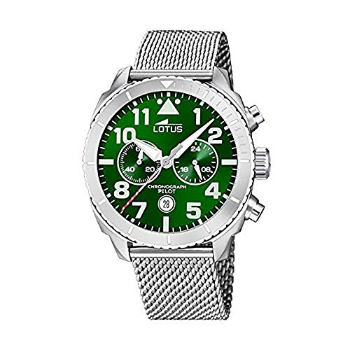 Lotus Herren Analog Quarz Uhr mit Edelstahl Armband 18704/2