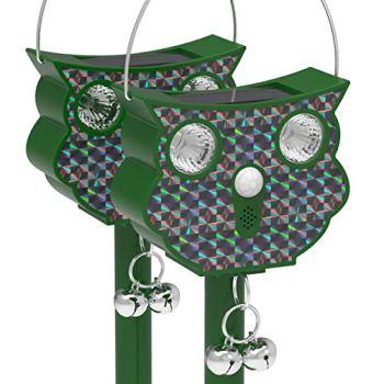 vounot Lot de 2 Répulsif Ultrason Solaire Répulsif Ultrasonique avec Capteur PIR Lampe Flash à LED activé par Le Mouvement Animal Repeller pour Chat Hibou Anti Pigeons Protecteur de Jardin