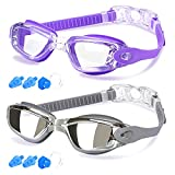 COOLOO Swim Goggles Men, 2 Pack Swimming Goggles for Women Kids Adult Anti-Fog, Purple & Gray (Sports)