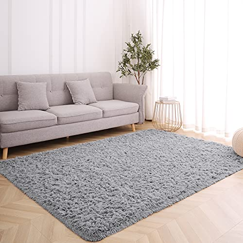 Wellber Modern Soft Grey Shaggy Rugs Fluffy Home Decorative Carpets, Rectangle Durable Plush Fuzzy Area Rugs for Living Room Bedroom Dorm Kids Room Nursery Indoor Floor Accent Fur Rugs, 4x5.9 Feet