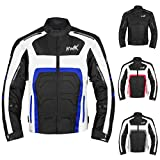 Textile Motorcycle Jacket For Men Dualsport Enduro Motorbike Biker Riding Jacket Breathable CE ARMORED WATERPROOF (Blue, M)