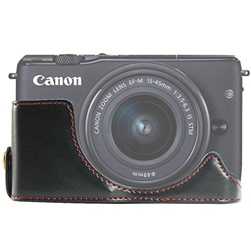 FIRST2SAVVV XJD-EOSM10-D01 黒 Canon EOS-M10. EOS M10 専用 PU 半分レザー レフ カメラバッグ カメラケース