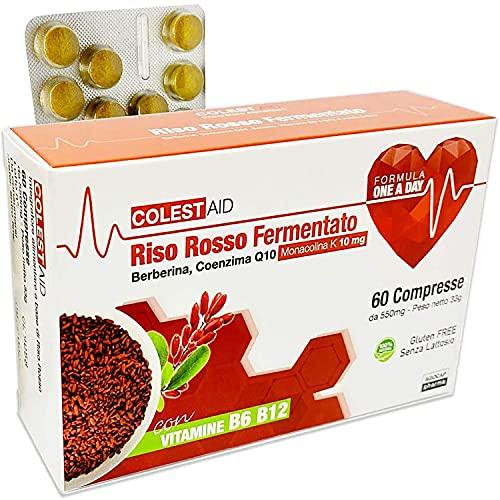 Riso Rosso Fermentato (lievito di riso rosso)   60 Compresse Riso Rosso Fermentato, Coenzima Q10, Monakolina K, Berberina   Integratore alimentare