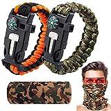 Miyobing Bracelet Paracorde Survie pour Homme Femme,Turban et 2xMilitaire Paracord Bracelet,Kit de...