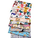 8 scampoli/lotto, serie Cartoon Animal, tessuto di cotone twill stampato, 40 cm x 50 cm, tessuto patchwork per lavori di cucito fai da te, trapuntatura, lenzuola e vestiti per bambini