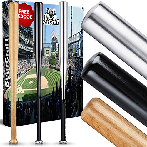 BearCraft Batte de Baseball en Bois ou en Aluminium | avec 79 cm de Longueur - Solid traité (Aluminium (Noir), 79)
