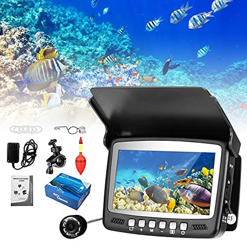MATHOWAL Videocamera Subacquea Professionale Fish Finder Pesca Telecamera da Pesca Impermeabile Portatile da 4,3 Pollici Fishfinder HD 1000TVL Cavo 15m Monitor LCD, per Pesca in Mare e in Barca