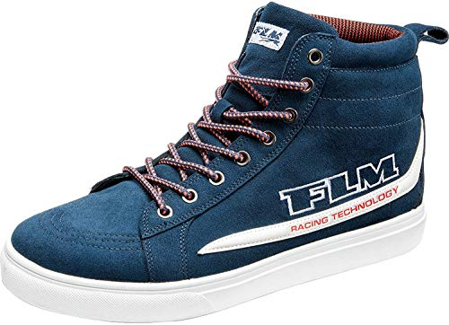 FLM Motorradschuhe, Motorradstiefel lang City Schuh, verstärkter Knöchelbereich, atmungsaktiv, ergonomisch geformtes Fußbett, Nubukleder, rutschfeste Funktions-Gummisohle, Blau, 44