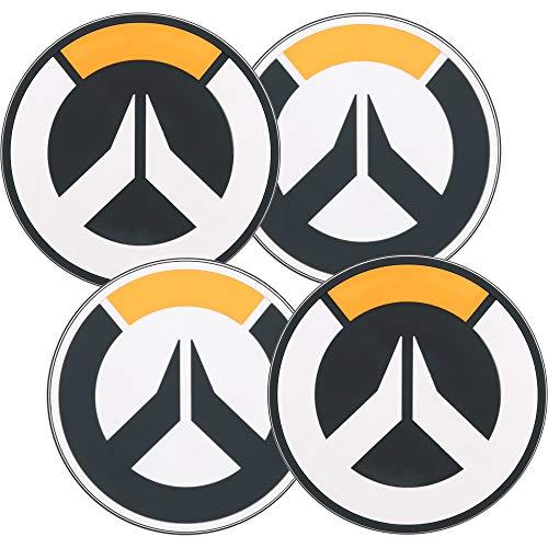 JINX Set di sottobicchieri Overwatch di 4 Logo 10cm Vinile Nero Bianco
