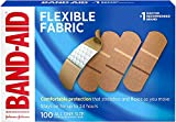 Band-Aid Adhesive Bandages, Flexible Fabric, All One Size 1' X 3' , 100 Count (Pack of 3)