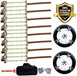 EASE2U E Snow Chains, Tire Chains for Suvs, Cars, Sedan, Family Automobiles,Trucks with Update Adjustable Lock for Ice, Snow,Mud,Sand,Applicable Tire Width 205-275mm/8.07-10.8in(8 Pack)
