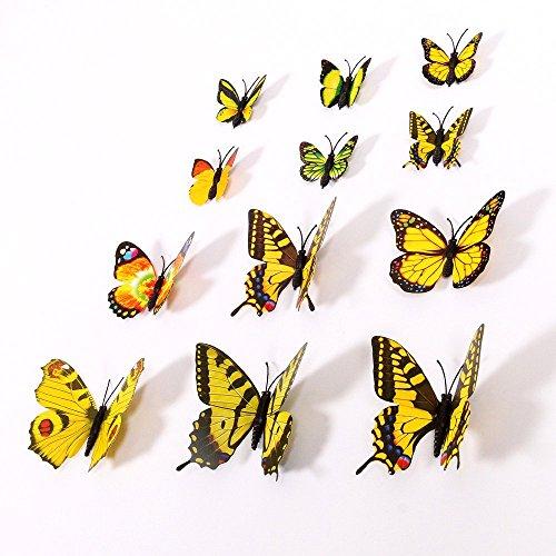 NO:1 12 Stück Mode 3D Schmetterling Magnetisch Wandsticker Wandaufkleber DIY Wandverzierung Wanddeko - Gelb