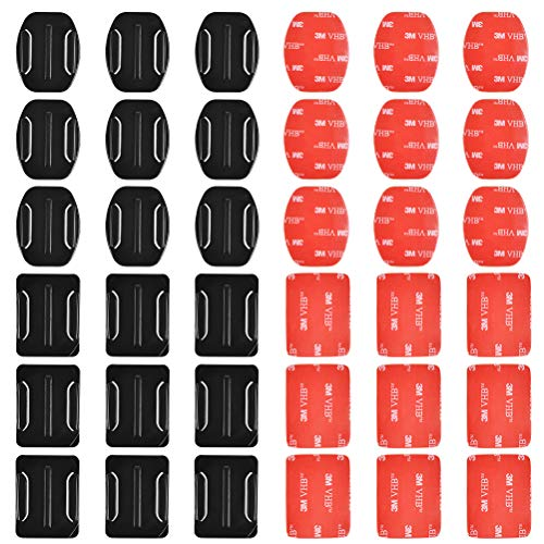 POKIENE Adesivi per Caschi, 18 Curve e 18 Appartamenti per Videocamera Sportiva, Supporto Adesivo Curvo e Piatto, Adesivo per Montaggio Action Camera, per Go PRO Hero 1/2/3 / Suptig, DV