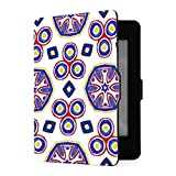 Funda Kindle Paperwhite 1 2 3, Embroidery Traditions Peru Aztecs Maya Geometric PU Funda de Cuero con Smart Auto Wake Sleep para Amazon Kindle Paperwhite (para Versiones 2012,2013,2015