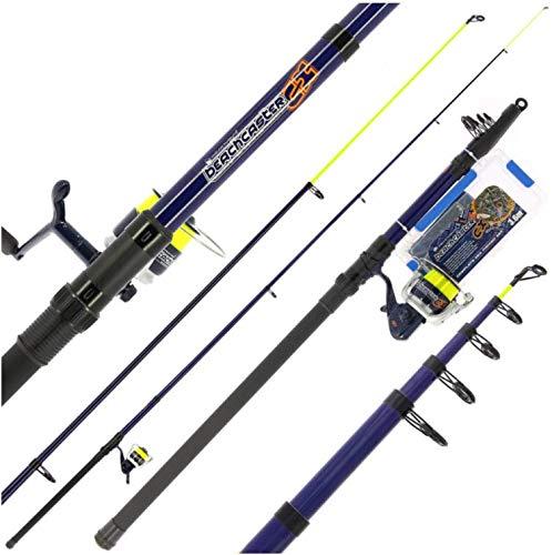 BZS - Set di canne da pesca telescopice, canna da pesca telescopica, mulinello e accessori