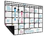 Planificador mensual al magnético de borrado en seco en formato A·3 - Gran tablero de notas con un...