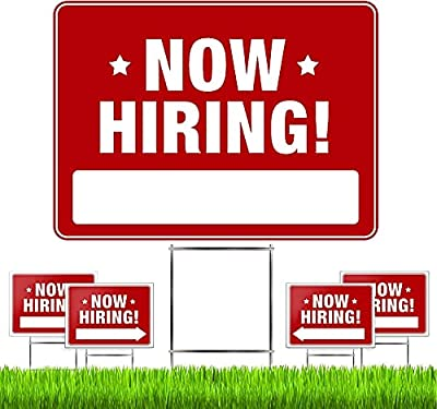 """✅ 5 PACK – HIRE EMPLOYEES FAST: Set of 5 premium quality large Now Hiring signs & 5 heavy duty stakes. Signs are 24"""" wide x 18"""" tall & double-sided. Using multiple signs attracts more job candidates & directs them to your business to meet your hiring..."""