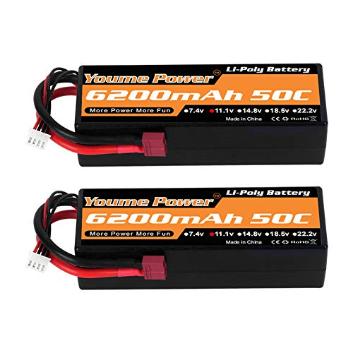 Youme Power 11.1 V Lipo Battery, 3S Lipo Battery 6200mah 50C Custodia Rigida Deans T Plug per Traxxas RC Car / Truck / Buggy, RC Boat, Aereo, UAV, Drone (2 Pack)