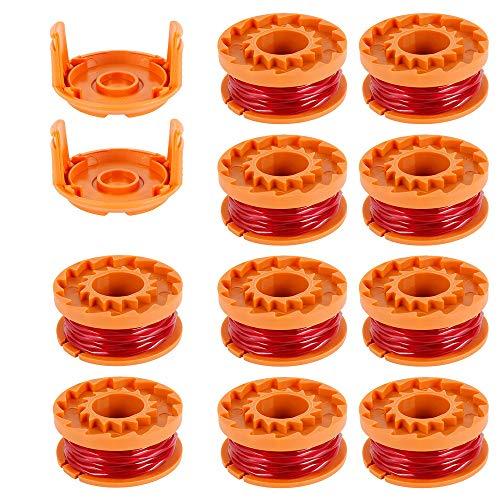 10pcs Rocchetti Filo Decespugliatore in Nylon 3m/1.65mm WORXWG163 WG180 WG175 WG150 WG160 con 2pcs Coperchio di Ricambio
