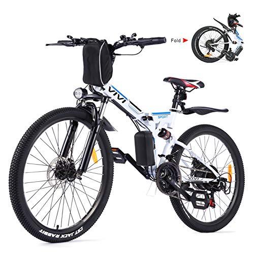 Vivi 26' Vélo Électrique Pliable, VTT Électrique, 350W Vélo électrique pour Adulte avec Batterie Amovible 8Ah, Professionnel 21 Vitesses, Suspension Complète