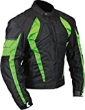 Milano Sport Gamma Men's Motorcycle Jacket (Black/Green, XXX-Large)