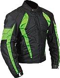 Milano Sport Gamma Men's Motorcycle Jacket (Black/Green, X-Large)