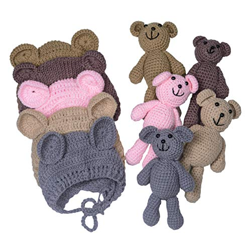EUDORA Newborn Baby Bear Doll Beanie Hat for Infant Photography...