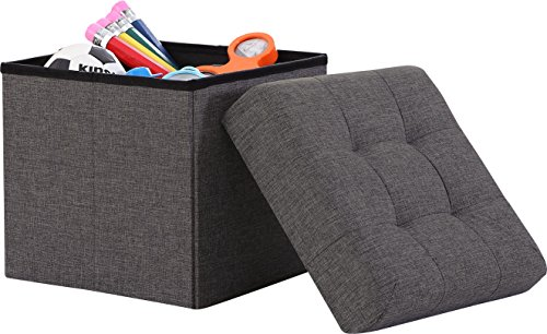 Ornavo Home Foldable Tufted Linen Storage Ottoman Square Cube Foot Rest Stool/Seat - 15' x 15' x 15' (Charcoal)