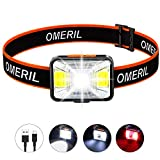 OMERIL Lampe Frontale LED USB Rechargeable avec 200 Lumens 5 Modes D'éclairage Lumière Blanche et Rouge, Torch Frontale Puissante Etanche IPX5 pour Pêche, Camping, Lecture, Randonnée, Cyclisme
