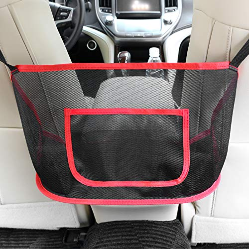 51RWDJtsi0L PET BARRIER:Adopted thickened polyester fiber with strong flexibility, It also serves as a special barrier that prevents naughty pets in the back seat from disturbing your daily drives. SAFE DRIVING:Net Pocket Handbag Holder helps reduce distracted driving by providing easy access to your purse contents without taking your eyes off the road. It eliminates the need for inconvenient purse placement at your passenger's feet. EXTRA STORAGE:The Car Net Pocket Handbag Holder completely covers the space between the front two seats and make them your extra storage. It can stretch to the perfect size based on different spaces between the driver and the passenger seats.
