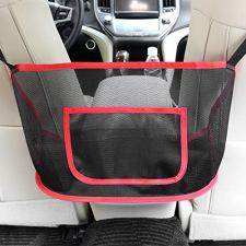 51RWDJtsi0L Car Caché (US Patent #9,428,115) keeps your handbag easily accessible, clean, and out of passengers way for years to come! The pocket is perfect for small items such as an umbrella, gloves, charging cords, etc. then simply toss your handbag in front of the pocket. Great as a pet barrier for smaller dogs! Recommended by: GMA Kelly & Ryan, Real Simple, People Mag., BuzzFeed, GMA Michael Strahan & Sara, Readers Digest, Parade Mag., NewsWatch TV, and more! REQUIRES: Center console that opens from the Front (cannot slide open) and Accessible headrest posts. If console opens from the side or middle, use 3M Command hooks, that are used for large pictures, and stick them upside down on the inside, back of the console and tie strings.