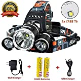 Newest Version OF Brightest LED Headlamp 20000 Lumen IMPROVED Cree Led,4 Modes Headlight Battery Powered Helmet Light for Camping Running Hiking and Reading,(Charging equipment and Batteries) Included