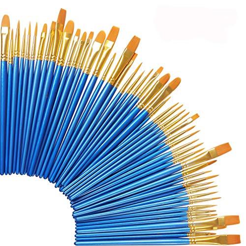 Sulida 5 Paquetes / 50 Piezas de Nylon cepillos para el Cabello, Conjunto de Pincel de Pintura acrílica para Todos los propósitos Pintura al óleo Artista Acuarela Kits Profesionales