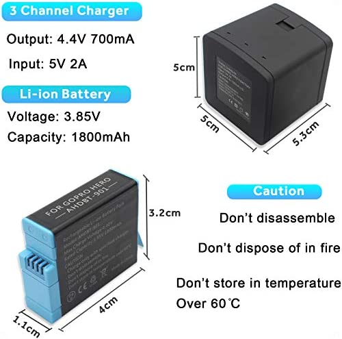 Battery Charger Station for GoPro Hero-9, 2 Pack Batteries Compatible with GoPro Hero 9 Black AHDBT-901