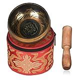 Echoice Nepal Cuenco Tibetano 9.5cm con una Caja para Meditación, Relajación, Estrés y Ansiedad Alivio, Sanación del Chakra, Yoga, Zen Regalo Perfecto
