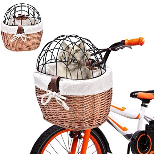 Woorea Seggiolino per Gatti, seggiolino per Bicicletta per Cani, Cestino per Bicicletta Rimovibile Anteriore, Cestino per Bicicletta, Borsa per Il Trasporto