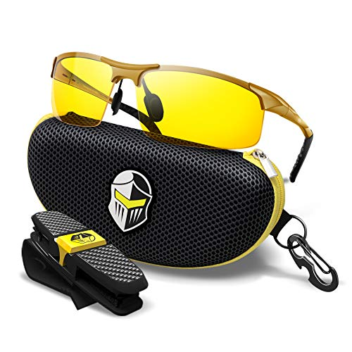 BLUPOND HD Night Vision Driving Glasses for Men Semi-Polarized - Knight Visor (Gold Frame)