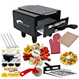 Hot Life 1500W Small Electric Tandoor with Pizza Cutter,Recipe Book,Grill & Skewers, Safety Glove,Nonstick Sheet,Aluminium Trey + 3 Year Warranty (Small)