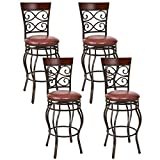 COSTWAY Bar Stools Set of 4, 360 Degree Swivel, 30' Seat Height Bar stools, with Leather Padded Seat Bistro Dining Kitchen Pub Metal Vintage Chairs (Set of 4)