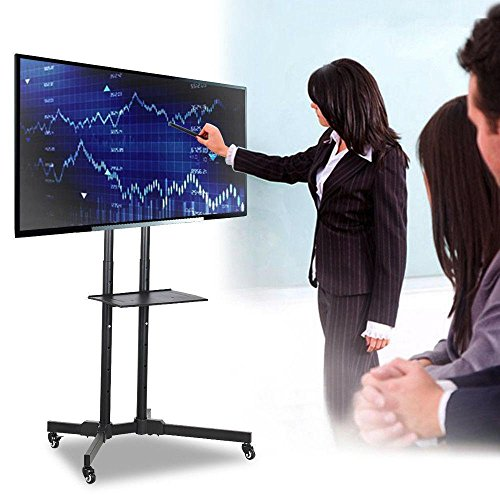 Yaheetech Supporto Staffa per TV Carrello Porta TV con Ruote a Terra Ripiano per Monitor TV LCD LED...