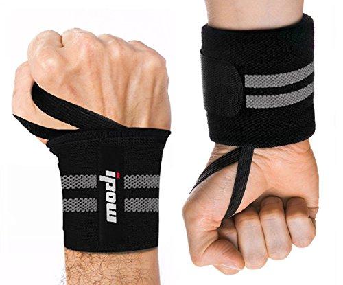 ipow 2 PZ Fasce da Polso Polsiere palestra Fasce palestra polsi Professionali Anti-sudore Flessibile con cinturino regolabile perfetto per sollevamento pesi, crossfit, bodybuilding, NERO