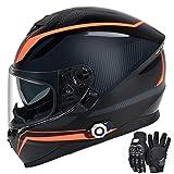 FreedConn Bluetooth Integrated Motorcycle Helmet, DOT Full Face BM12 Communication System Motorcycle Helmet with 500m FM Radio/ MP3, 2-3 Riders Pairing Intercom (Multi-Color, XXL)