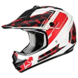 "triangle Youth Offroad Motorcycle Helmets ""Stain"" Sport ATV Motocross Dirt Bike [DOT] Red (Medium)"