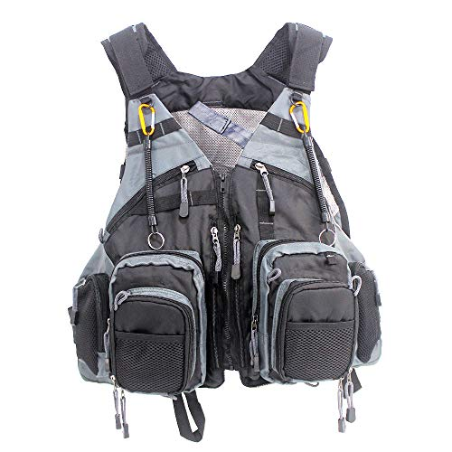 Fly Fishing Vest Pack Adjustable Breathable Outdoor Activity Vest with Retractable Spring Coil Kit...