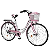 26 inch Beach Cruiser Bike for Women, High Tensile Carbon Steel Commuting Bike, Sigle-Speed City Bicycle with Basket Pink