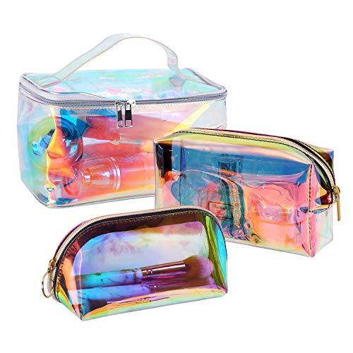 Sac Cosmétique Holographique Trousse de Maquillage Transparente Trousse de...