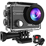Crosstour CT8500 4K 20MP Action Camera External Microphone PC Webcam WiFi Vlogging Camera EIS Underwater 40M Waterproof Camera with Remote Control and Mounting Accessories Kit